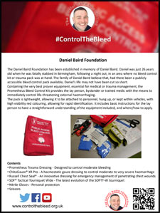 The Daniel Baird Foundation Control The Bleed Kit Leaflets