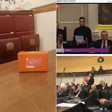 Birmingham Liberal Democrats take action for Publicly Accessible Bleed Kits at Birmingham Council House
