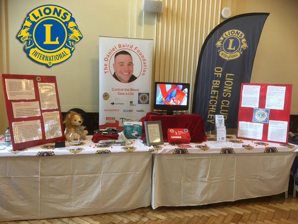 The Lions Club of Bletchley Support the Daniel Baird Foundation through promotion of bleed control kits