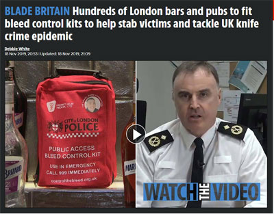 London bars and pubs to fit bleed control kits to help stab victims and tackle UK knife crime epidemic