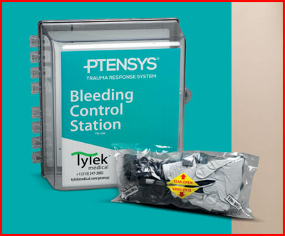 Wall mounted Bleeding Control Station containing eight Bleeding Control Kits